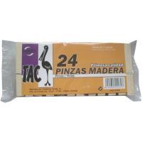 Pinzas de madera 75 mm TARRES, pack 24 unid.