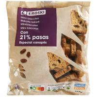 Mini biscotte con pasas EROSKI, bolsa 100 g