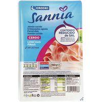 Jamón cocido reducido en sal EROSKI Sannia, bandeja 150 g