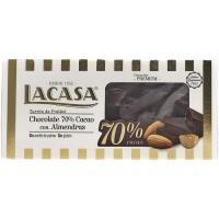 Turrón de chocolate negro 70% almendras LACASA, caja 200 g