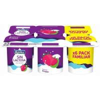 Preparado lácteo sin lactosa de fresa KAIKU, pack 6x125 g