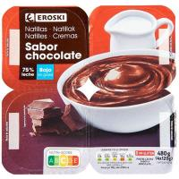 Natillas de chocolate EROSKI, pack 4x120 g