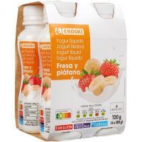 Bonyourt de fresa-plátano EROSKI, pack 4x180 g
