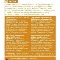 Yogur líquido de fresa-plátano EROSKI, pack 4x180 g