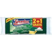 Estropajo salvauñas fibra verde SPONTEX, pack 2+1 unid.