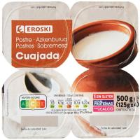 Cuajada natural EROSKI, pack 4x125 g