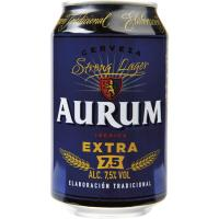Cerveza extra 7,5% vol. AURUM, lata 33 cl