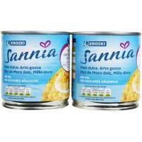 Maíz sin sal-sin azúcar añadido EROSKI Sannia, pack 2x140 g