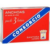 Filete de anchoa en aceite de oliva CONSORCIO, pack 3x29 g