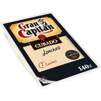 Queso curado GRAN CAPITAN, lonchas, bandeja 140 g