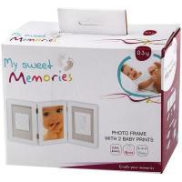 Marco de foto doble + huella de bebe en arcilla blanca, regalo ideal para padres, abuelos...BABY ART