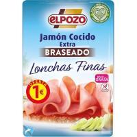 Jamón cocido braseado lonchas finas ELPOZO, bandeja 85 g