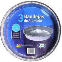 Molde redondo de aluminio 1 litro  SIL, pack 3 unid.
