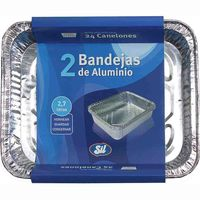 Bandeja de aluminio 2,7 litros SIL, pack 2 unid.