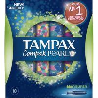 Tampón super TAMPAX Compak Pearl, caja 18 unid.