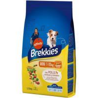 Alimento de pollo-buey-verdura perro mini BREKKIES, saco 1,5 kg