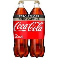 Refresco de cola sin cafeína COCA COLA Zero, pack 2x2 litros