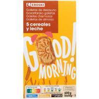 Galleta 5 cereales-leche EROSKI, caja 400 g