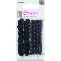 3+3 Elásticos fantasía medianos negros ELISON, pack 1 ud.