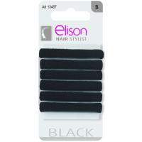 6 Elasticos medianos clásicos negro ELISON, pack 1 ud.