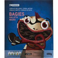 Bagies rellenos de galleta negra EROSKI, caja 450 g