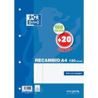 Recambio A4 con cuadro 4x4 OXFORD, 100+20 hojas