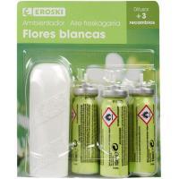 Ambientador mini spray flores blancas EROSKI, aparato+ 3 rec.