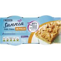 Paté de pollo EROSKI Sannia, pack 2x78 g