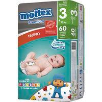 Pañal Premium 4-10 kg Talla 3 MOLTEX, paquete 60 unid.