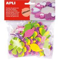 Flores adhesivas de Goma Eva con Purpurina APLI, 48uds