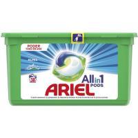 Detergente en cápsulas 3en1 Alpes ARIEL, caja 38 dosis