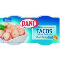 Tacos de potón del pacífico en aceite DANI, pack 2x78 g