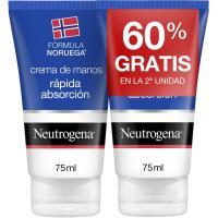 Crema de manos absorción rápida NEUTROGENA, pack 2x75 ml