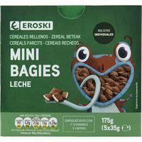Mini bagies rellenos de leche EROSKI, caja 175 g