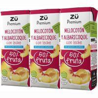 Lactozumo de melocotón-albaricoque ZÜ PREMIUM, pack 3x200 ml