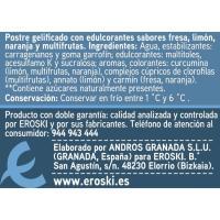 Gelatinas surtidas 0% m. g. sin azúcar EROSKI, pack 4x100 g