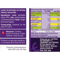 Preparado lácteo s/ lactosa natural azucar. EROSKI, pack 4x125 g