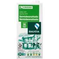 Leche semidesnatada de Galicia EROSKI, brik 1 litro