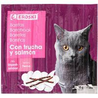 Barritas tiernas de trucha-salmón para gato EROSKI, paquete 35 g