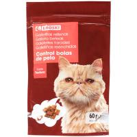 Snack anti bolas pelo para gato EROSKI, paquete 60 g