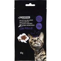 Galletitas rellenas de pollo para gato EROSKI, paquete 60 g