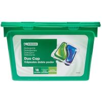 Detergente en cápsulas duo EROSKI, caja 18 dosis