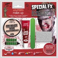 Set maquillaje efectos especiales: sangre,cera,2barras,espatula,esponja ALPINO, 1u