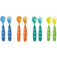 Lote 4 cucharas + 4 tenedores, dientes redondeados para mayor seguridad, adaptados para los más pequeños, TIGEX