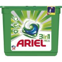 Detergente líquido en cápsulas 3en1 ARIEL, caja 24 dosis
