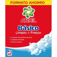Detergente en polvo ARIEL Básico, maleta 60 dosis