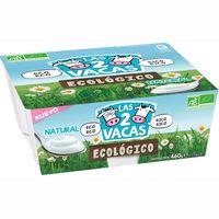 Yogur ecológico natural LAS 2 VACAS, pack 4x100 g