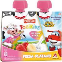Yogikids de fresa-plátano PASCUAL, pack 2x80 g