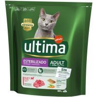 Alimento de buey gato esterilizado ULTIMA, paquete 800 g