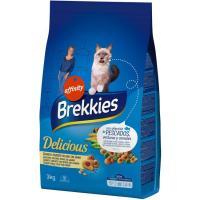 Delicious de pescado-verdura para gato BREKKIES, saco 3 kg